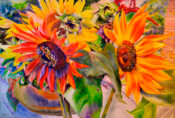 Anita Jamieson's watercolor Farmers Market Sunflowers
