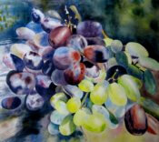 Anita Jamieson's watercolor Green and Red Grapes