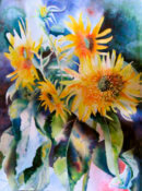 Anita Jamieson's watercolor Lighted Sunflowers