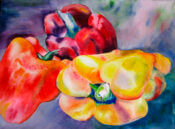Anita Jamieson's watercolor Red and Yellow Peppers