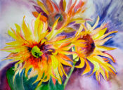 Anita Jamieson's watercolor Small Sunflowers