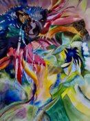 Anita Jamieson's watercolor Refracted Sunflower
