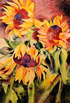 Anita Jamieson watercolor capturing the beauty of sunflowers